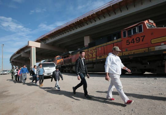 A group of migrants were detained shortly before U.S. Customs and Border Protection Commissioner Kevin K. McAleenan held a press conference in the Chihuahuita neighborhood of El Paso on Wednesday, March 27, 2019.