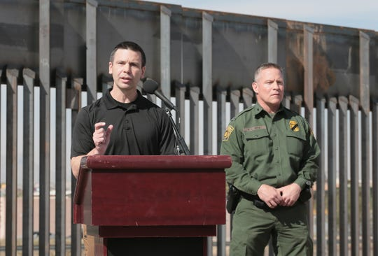 U.S. Customs and Border Protection Commissioner Kevin K. McAleenan held a news conference in the Chihuahuita neighborhood of El Paso with the bollard border fence in the background Wednesday, March 27, 2019.