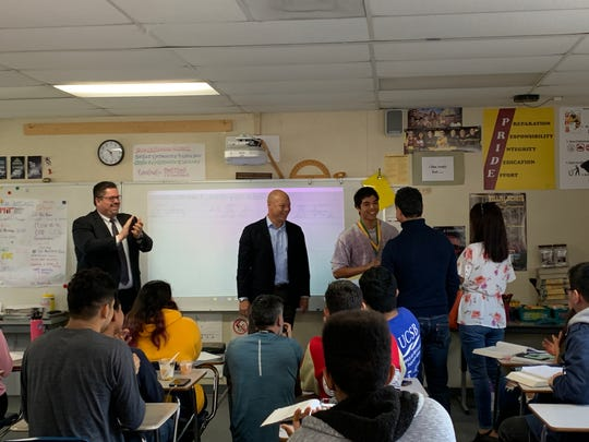 Oxnard High senior David Pulido was surprised Monday with a $40,000 check from Edison International to go toward his education. His parents also got to be part of the surprise.