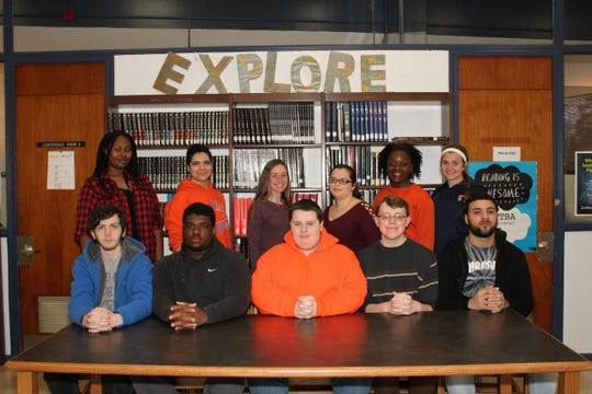 Millville Senior High School's Students of the Month for February are: (seated, from left) Jonathan Miller, Tyrell Dunn, Robert Rodgers, Aaron Benfer, Brandon Hanby; and (standing from left) Julia Green, Veronica Farkas, Kelsey Andres, Brooke Turner, Tereana Parker and Megan Sooy. Rachel Armington is not pictured.