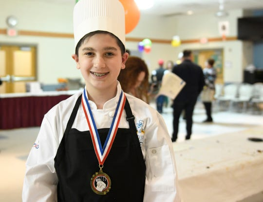 Petway School fifth grader Dominic Mercado was awarded first place for his 'Mexican Watermelon Salad' in a Future Chefs competition at Wallace Intermediate School in Vineland on Wednesday, March 27, 2019.
