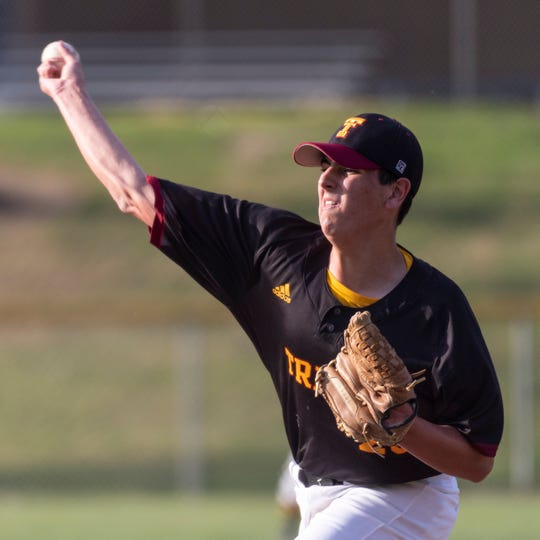 Tulare Union's Clark Mueller pitches against Monache in an East Yosemite League high school baseball game on Tuesday, March 26, 2019.