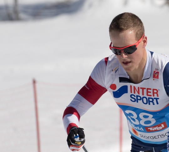 Adam Martin competing in the skiathlon at the World Championships in Seefeld, Austria.