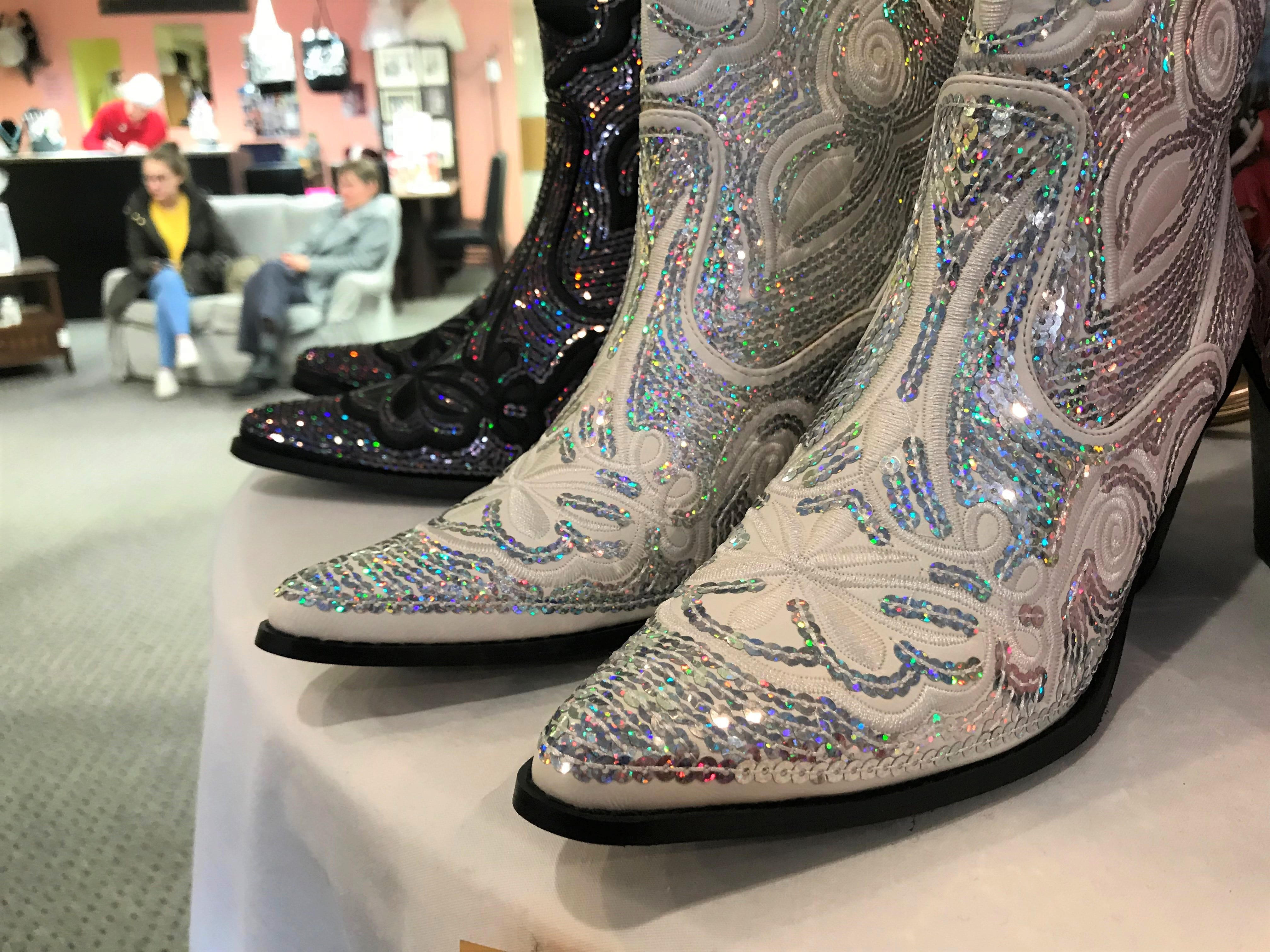The store With This Ring sells much more than just wedding dresses. These sequined cowboy boots are 15 percent off.
