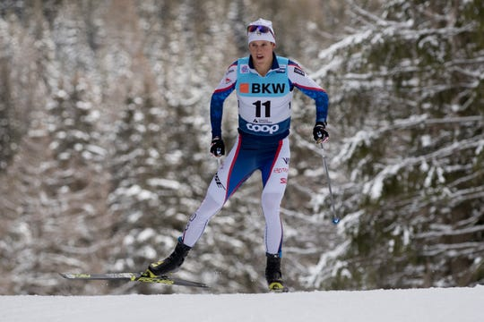 Adam Martin competing in a World Cup race in Davos, Switzerland, on Dec. 18.