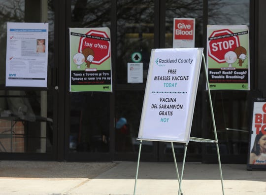 A measles vaccine sign outside the Robert L. Yeager health complex in Pomona on Wednesday, March 27, 2019.