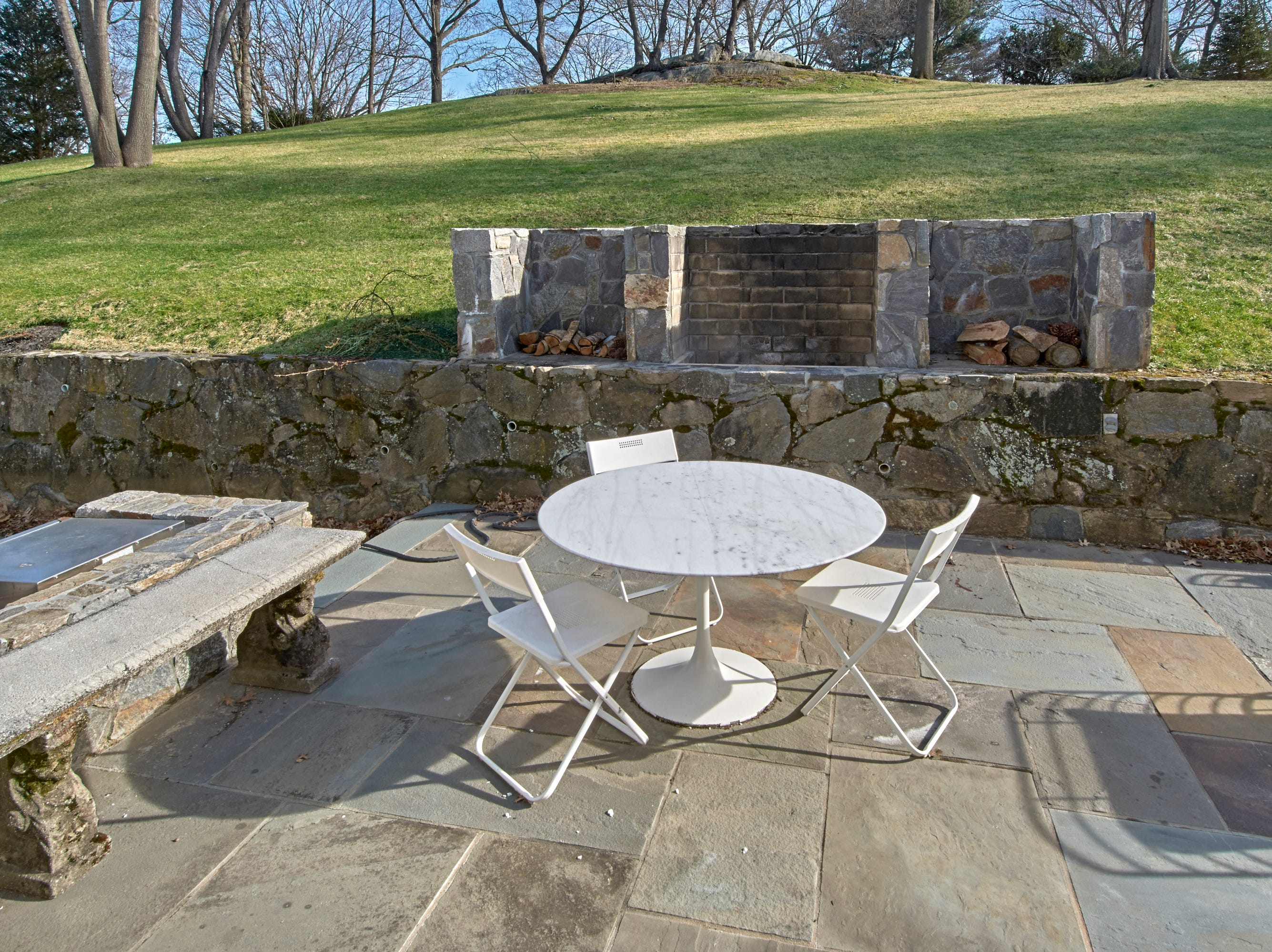 The outdoor terrace is private and offers ample room for entertaining.
