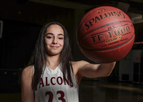 Albertus Magnus freshman Paulina Paris, is selected as the Rockland girls basketball player of the year, photographed at  Albertus Magnus High School in Bardonia on Wednesday, March 27, 2019.