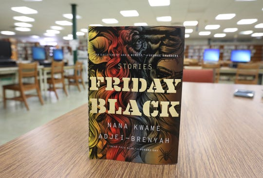 "Nana Kwame Adjei-Brenyah's collection of short stories, ""Friday Black,"" in the Ramapo High School library March 27, 2019. Adjei-Brenyah attended the school."