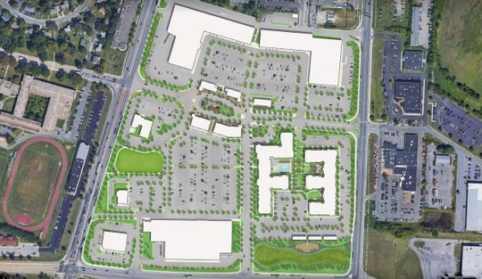 A site plan for the new development at College Square in Newark.