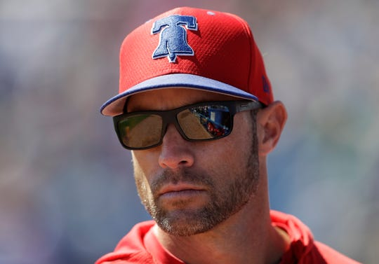 Gabe Kapler, pictured here with the Phillies in March 2019 during spring training, was hired Tuesday by the San Francisco Giants.