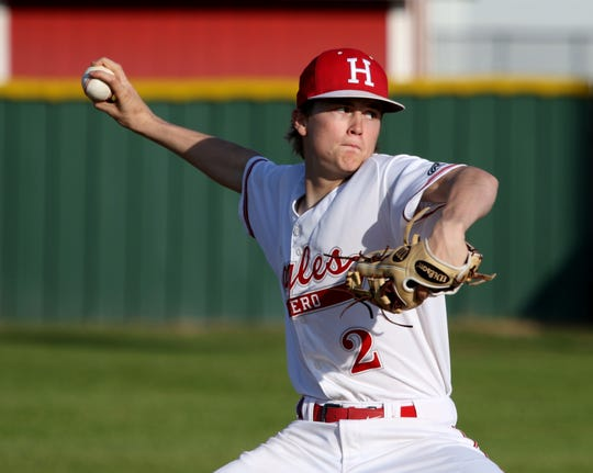 Holliday's Ayden Hutchins pitches against Bowie Tuesday, March 26, 2019, in Holliday.