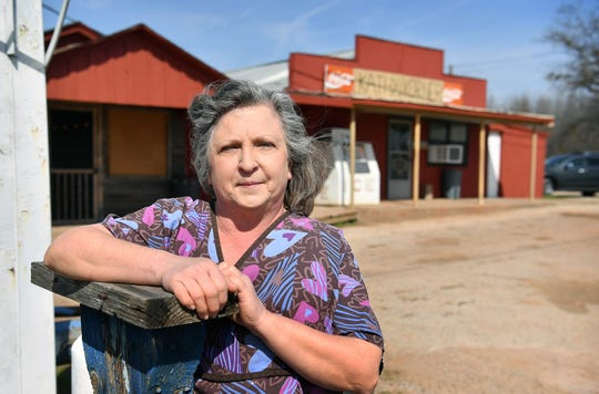Kathy Whyrick, owner of Kathy's Korner, is pictured outside of her store at Kadane Corner in Kamay, Texas. The establishment, built in 1935, is the oldest continually-operating business is the area and was a product of an oil boom in the community off Highway 258 and Highway 25.