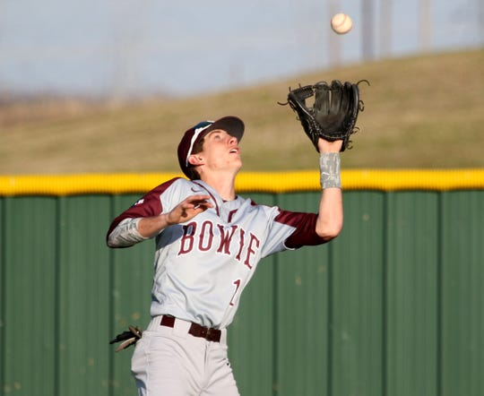 Bowie's Evan Kennedy catches the flyball against Holliday Tuesday, March 26, 2019, in Holliday.