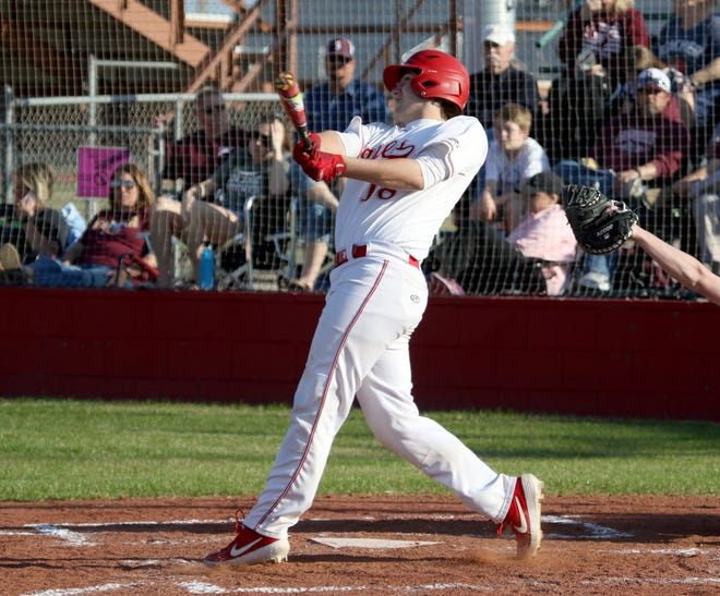 Holliday's Logan Whitling hits a three-run homerun against Bowie Tuesday, March 26, 2019, in Holliday.