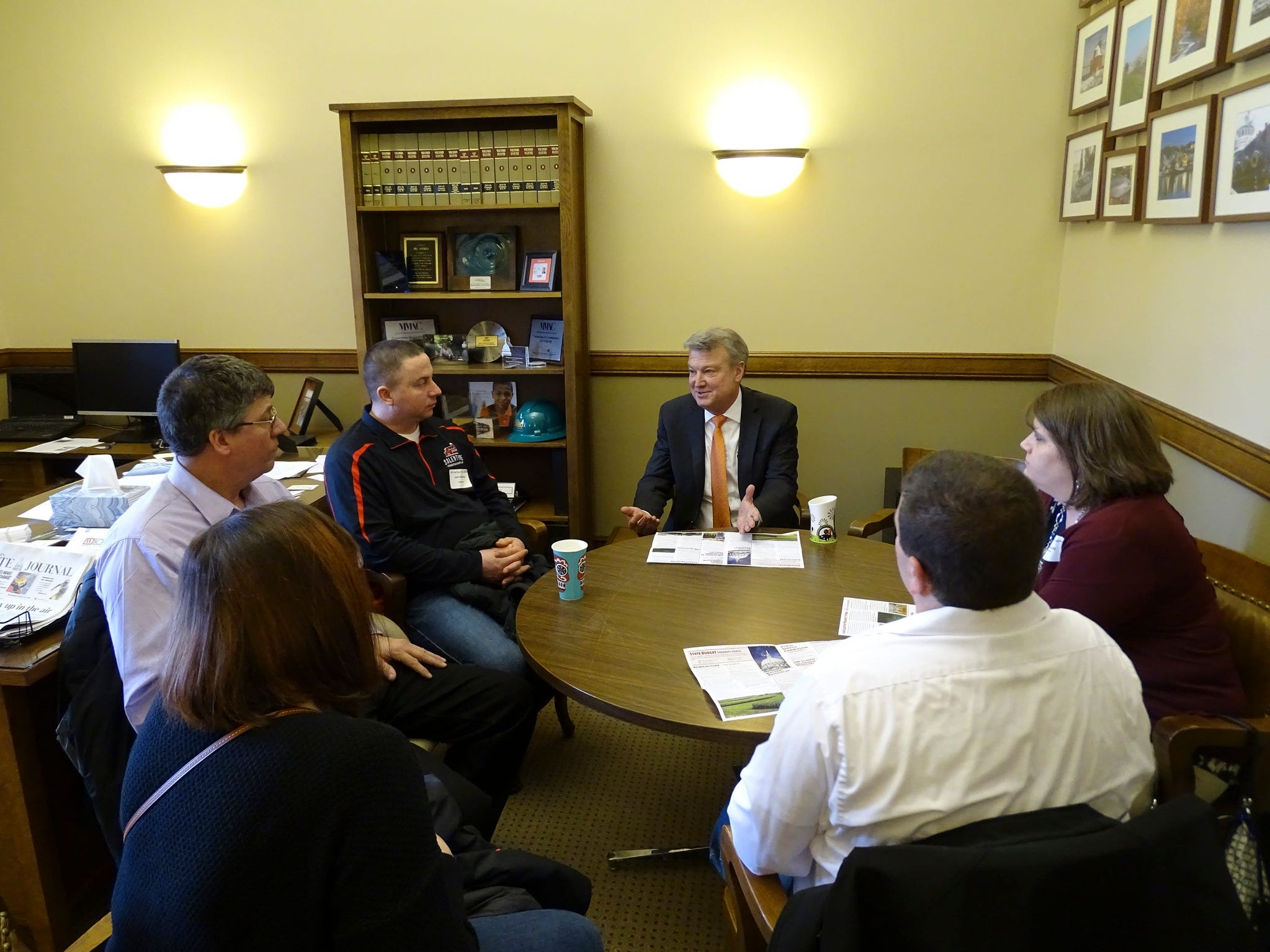 Kewaunee County Farm Bureau members met with Rep. Kitchens to talk about clean water and the need for farmers to have a seat at the table for water-related discussions.