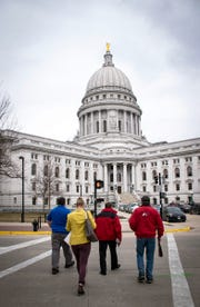 Wisconsin Farm Bureau members walk from Monona Terrace to the State Capitol during Ag Day at the Capitol on March 20.