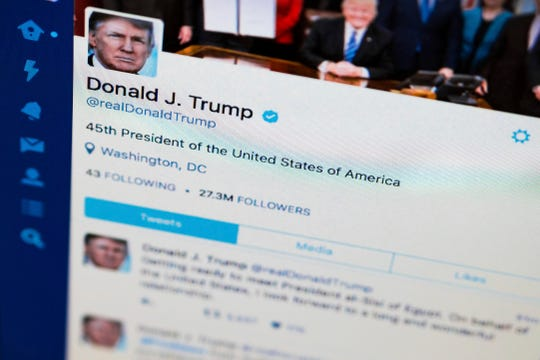 President Donald Trump's tweeter feed is photographed in Washington, D.C., in 2017.