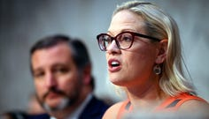 Sen. Kyrsten Sinema, D-Ariz., ranking member of the Senate Commerce Subcommittee on Aviation and Space delivers her opening remarks.