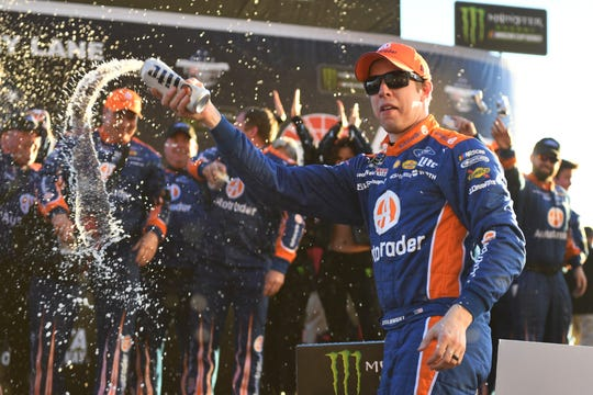 Brad Keselowski celebrates his NASCAR Cup Series win at Atlanta Motor Speedway last month.