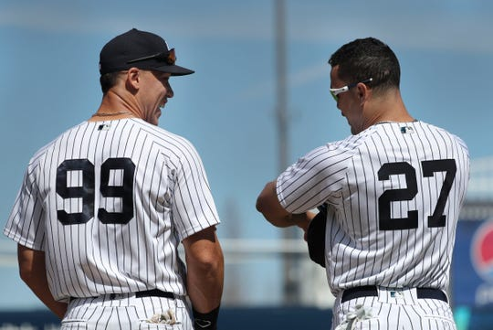 Yankees sluggers Aaron Judge, left, and Giancarlo Stanton combined for 65 home runs last season. Could they approach 100 ... or more in 2019?