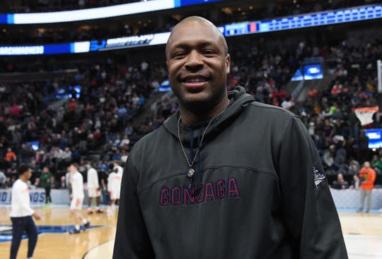 Zach Norvell Sr. the father of Gonzaga Bulldogs guard Zach Norvell Jr. in attendance at the first round of the 2019 NCAA tournament game against  Fairleigh Dickinson.