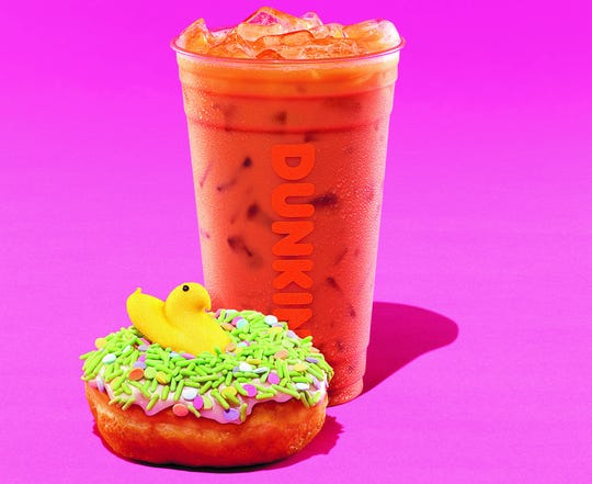 Dunkin' is releasing a new Peeps Donut and Peeps Marshmallow Swirl Iced Coffee on April 1.