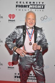 Buzz Aldrin attends the Celebrity Fight Night on March 22, 2019 in Phoenix, Arizona, in his dazzling rocket ship suit.