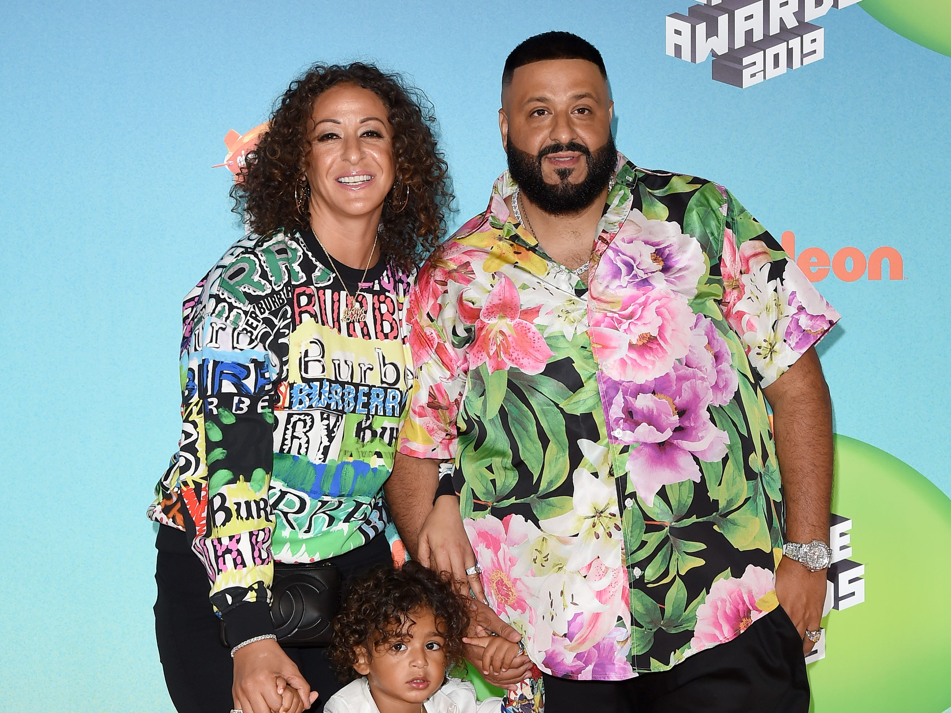 LOS ANGELES, CALIFORNIA - MARCH 23: (L-R) Nicole Tuck, Asahd Tuck Khaled, and DJ Khaled attend Nickelodeon's 2019 Kids' Choice Awards at Galen Center on March 23, 2019 in Los Angeles, California. (Photo by Axelle/Bauer-Griffin/FilmMagic) ORG XMIT: 775314636 ORIG FILE ID: 1137876197