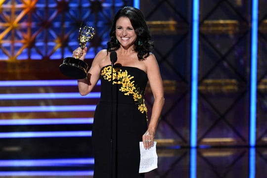 """Julia Louis-Dreyfus won her sixth acting Emmy for """"Veep"""" the day before she announced she had breast cancer in 2017."""