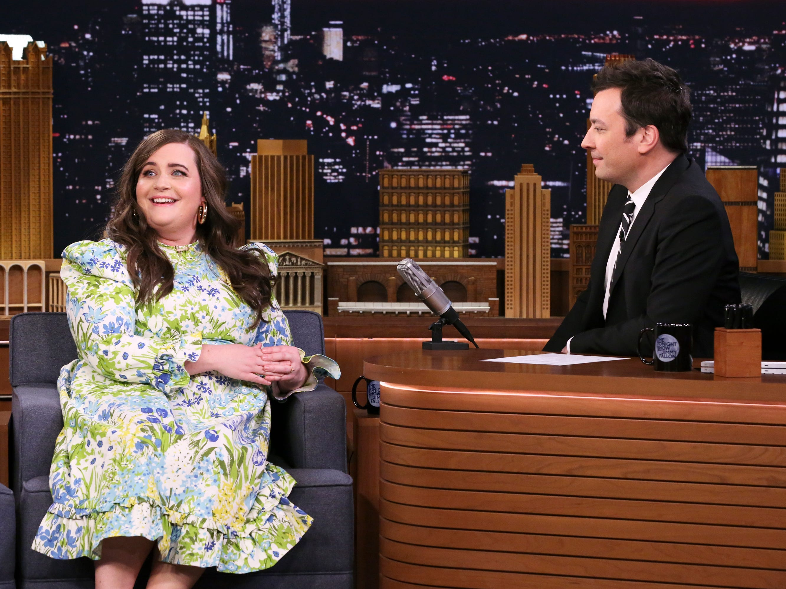THE TONIGHT SHOW STARRING JIMMY FALLON -- Episode 1033 -- Pictured: (l-r) Comedian Aidy Bryant during an interview with host Jimmy Fallon on March 19, 2019 -- (Photo by: Andrew Lipovsky/NBC)