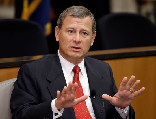 Chief Justice John Roberts speaks at the University of Nebraska in Lincoln in 2014.