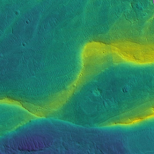 Ancient rivers can still be spotted on Mars. The colors on this image, taken by an orbiting satellite, show different elevations (blue is low, yellow is high).
