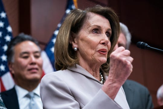 House Speaker Nancy Pelosi, along with other Democratic lawmakers, introduces the Climate Action Now Act in the U.S. Capitol in Washington, D.C., March 27, 2019.