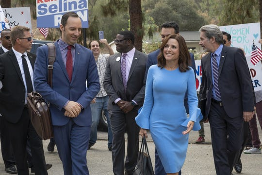 "Gary (Tony Hale, left) is right by Selina's (Julia Louis-Dreyfus) side as she hits the presidential campaign trail in ""Veep"" Season 7."