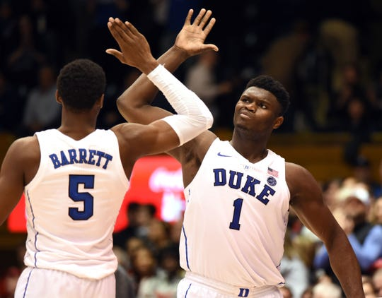 Duke's Zion Williamson and R.J. Barrett.