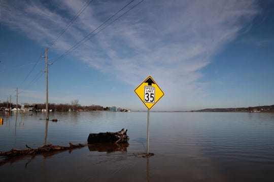 Floodwaters cover Highway 59 near Craig, Missouri, on March 22, 2019.