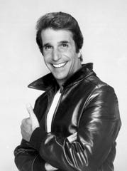 """Henry Winkler, seen here in a 1984 photo dressed as biker Arthur Fonzarelli, aka 'Fonzie' and 'The Fonz,' became a big star playing the cool biker on ABC's """"Happy Days,"""" which started an 11-season run in 1974."""