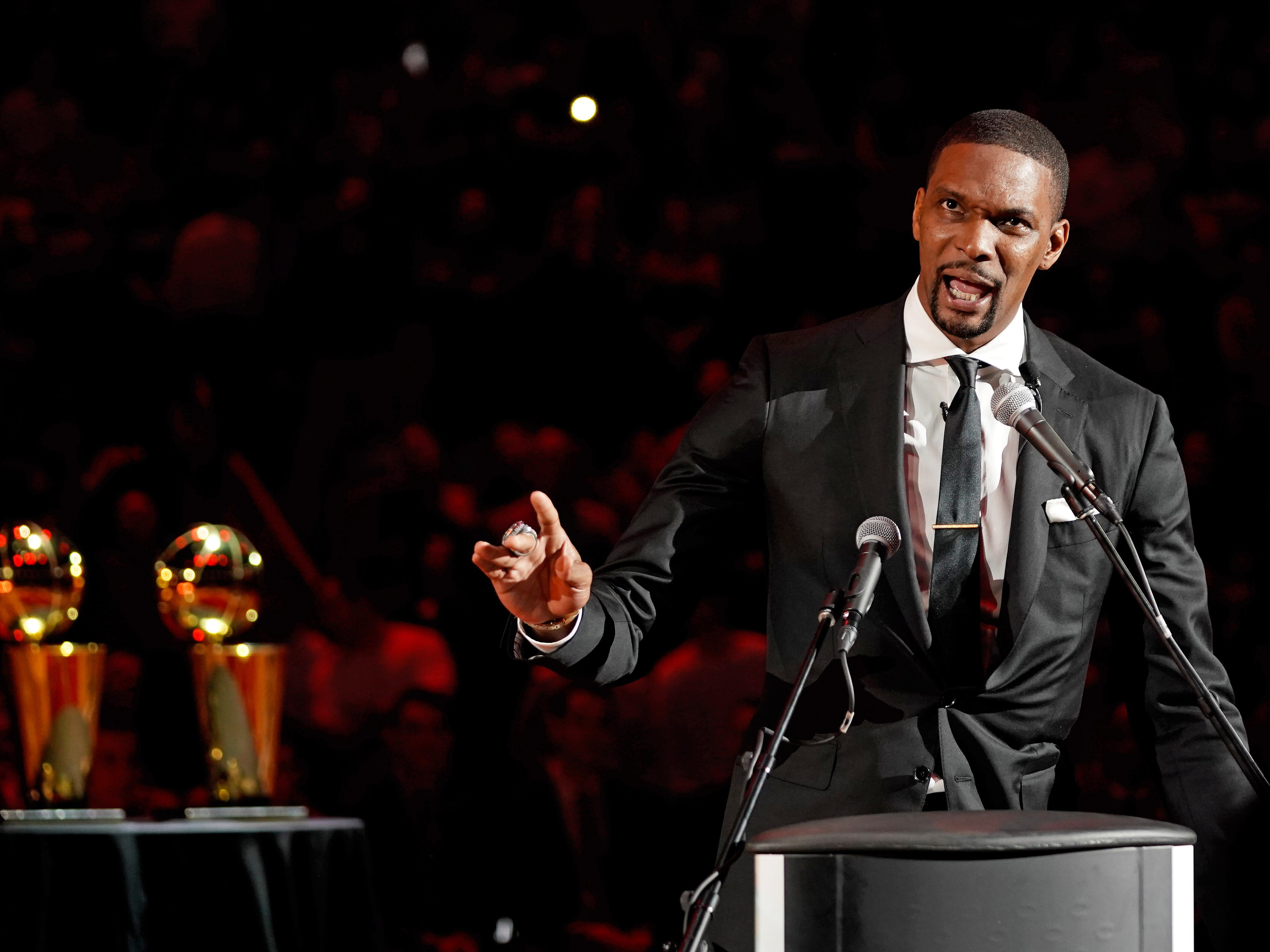March 26, 2019: Former Miami Heat player Chris Bosh speaks during his jersey retirement ceremony at halftime of the game between the Heat and Orlando Magic at American Airlines Arena.