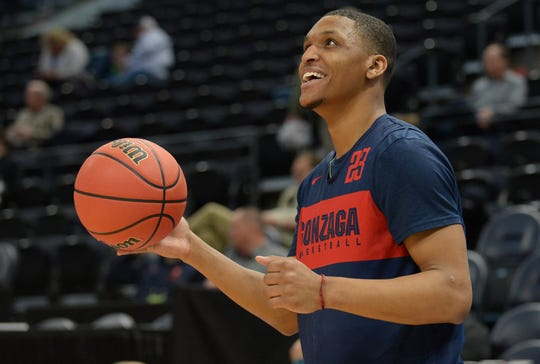 Gonzaga guard Zach Norvell Jr. smiles during practice before the first round of the 2019 NCAA tournament.