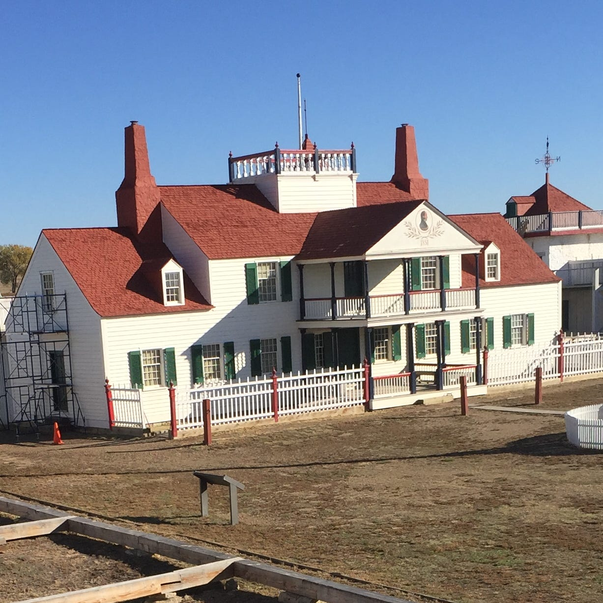 The reconstructed Fort Union is on the site of the original structure and includes a Bourgeois House, which was rebuilt on some of its foundation stones. The wooden framing in the foreground marks where other buildings would have stood.