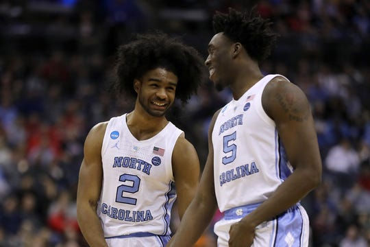 UNC's Coby White (No. 2) and Nassir Little (No. 5) are two pivotal freshmen as the Sweet 16 begins.