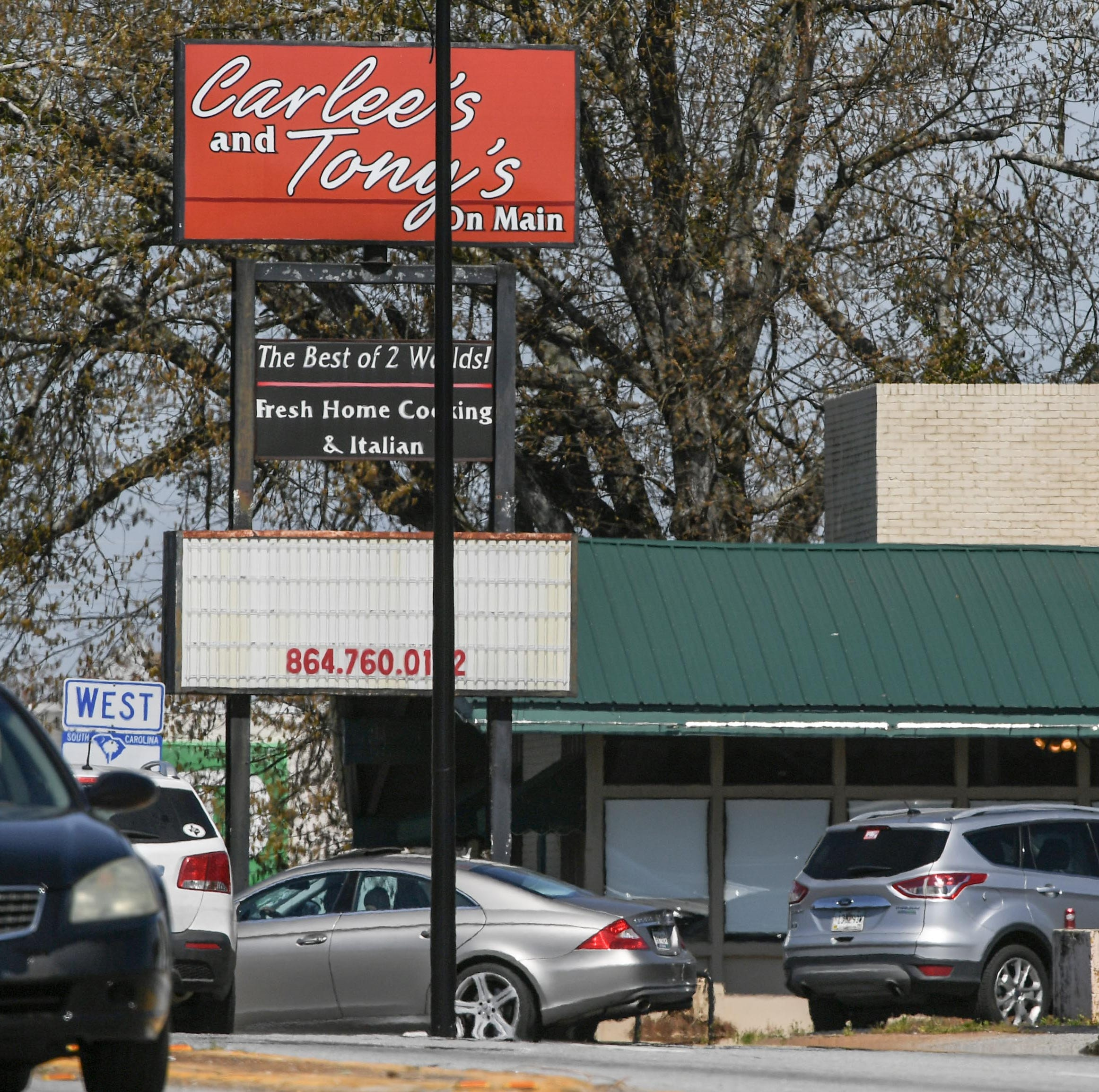 Carlee's and Tony's on Main closes, and changes are coming to another Anderson restaurant