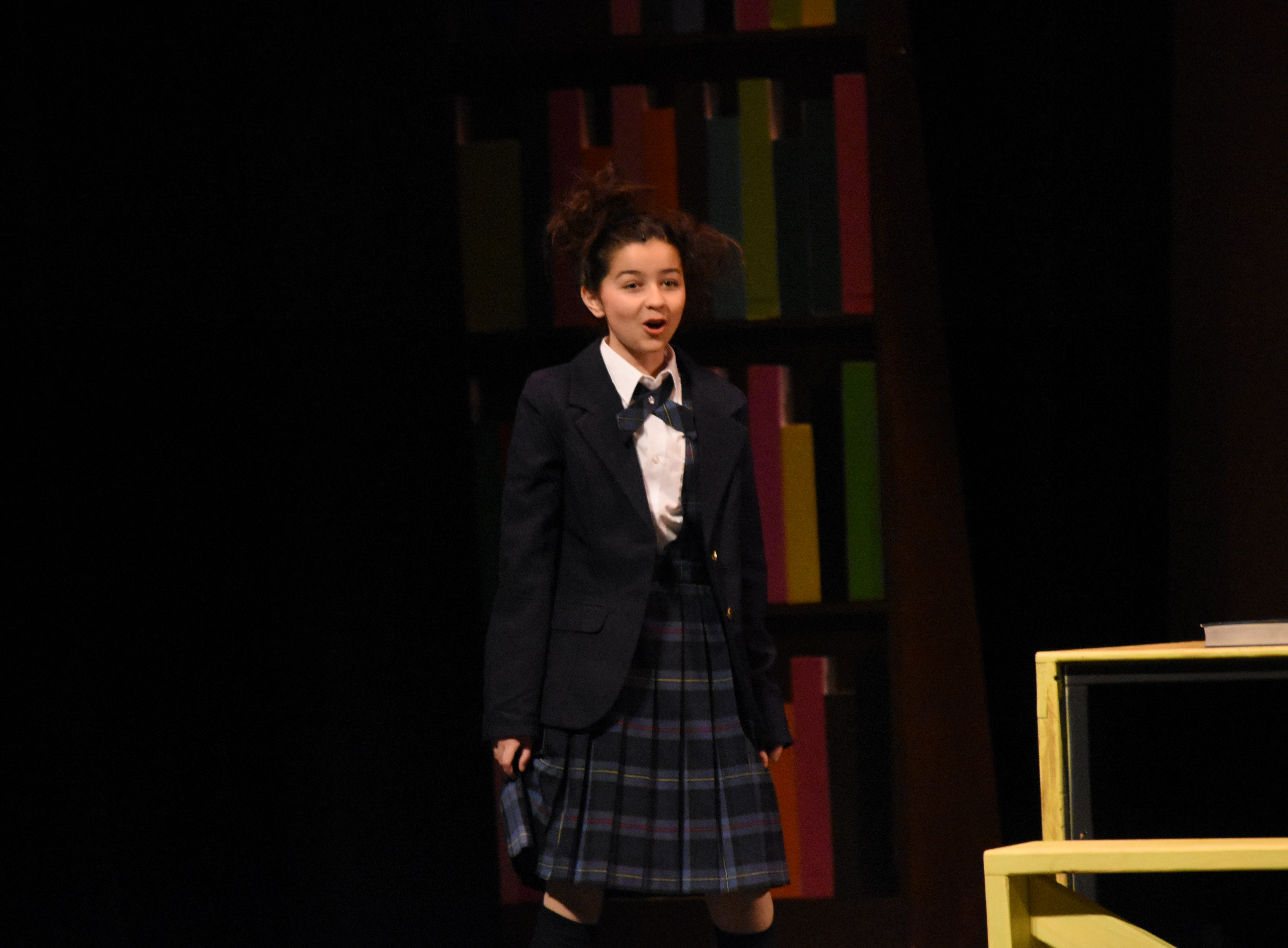 """Evie LaFleur (left) stars as Matilda and Karie LaFleur as Mrs. Phelps the librarian in Lagniappe Theatre Company's presentation of """"Matilda the Musical"""" based on the book by Roald Dahl. The show begins at 7 p.m. Thursday, Friday and Saturday and at 2:30 p.m. Sunday at the Coughlin-Saunders Performing Arts Center in downtown Alexandria. Also starring as Matilda is Chloe Lair. """"Matilda the Musical"""" is the story of an intelligent young girl who is born into an unloving family. She is sent away to school where her kind schoolteacher is impressed with her. The school's headmistress, however, doesn't like children and doles out cruel punishments for those who break her rules."""