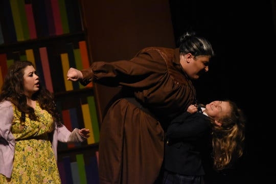 "Evie LaFleur (right) stars as Matilda, Brady Sanders as the evil school headmistress Miss Trunchbull and Lesley Brunk as Matilda's kind teacher Miss Honey in Lagniappe Theatre Company's presentation of ""Matilda the Musical"" based on the book by Roald Dahl. The show begins at 7 p.m. Thursday, Friday and Saturday and at 2:30 p.m. Sunday at the Coughlin-Saunders Performing Arts Center in downtown Alexandria. Also starring as Matilda is Chloe Lair. ""Matilda the Musical"" is the story of an intelligent young girl who is born into an unloving family. She is sent away to school where her kind schoolteacher is impressed with her. The school's headmistress, however, doesn't like children doles out cruel punishments for those who break her rules."
