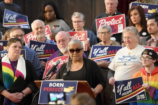 """Carmen Ramos-Kennedy, president of Asheville Buncombe County NAACP, speaks during a press conference to announce the launch of Born Perfect, NC, at the First Congregational United Church of Christ on March 28, 2019. Born Perfect, NC is described as """"a grassroots statewide campaign to pass the bill protecting young LGBTQ people from Òconversion therapy,Ó  a dangerous and debunked practice."""" The press conference also coincided with the introduction of three pieces of LGBTQ-inclusive legislation in Raleigh."""