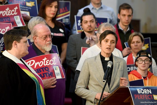 """Rev. Jasmine Beach-Ferrara, executive director of the Campaign for Southern Equality, speaks during a press conference to announce the launch of Born Perfect, NC, at the First Congregational United Church of Christ on March 28, 2019. Born Perfect, NC is described as """"a grassroots statewide campaign to pass the bill protecting young LGBTQ people from Òconversion therapy,Ó  a dangerous and debunked practice."""" The press conference also coincided with the introduction of three pieces of LGBTQ-inclusive legislation in Raleigh."""