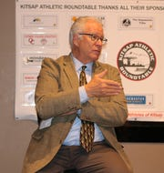 Washington Interscholastic Activities Association executive director Mike Colbrese addresses the crowd during Wednesday's Kitsap Athletic Roundtable gathering in Bremerton.