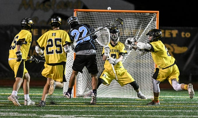 Tyler Figueroa of Rockledge takes a shot at the Merritt Island goal during Wednesday's game.