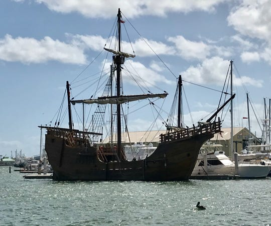 A replica Santa Maria was docked at Cape Marina in Port Canaveral on Thursday morning.